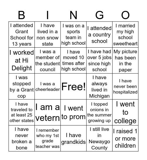 Life Experinces of Class of 71 Bingo Card