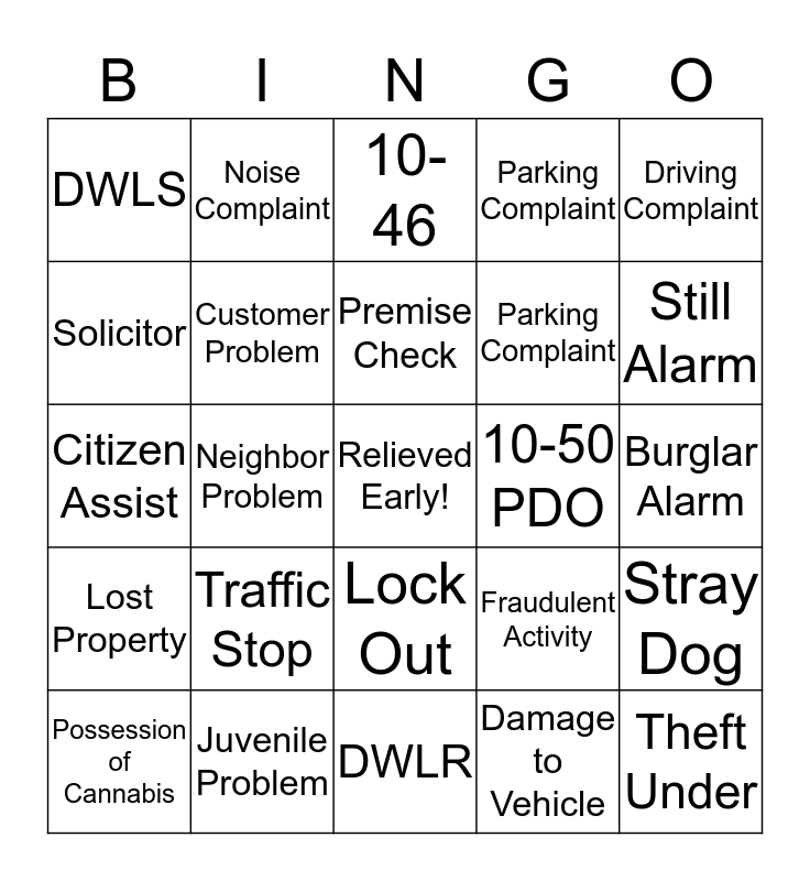 911 Bingo Card