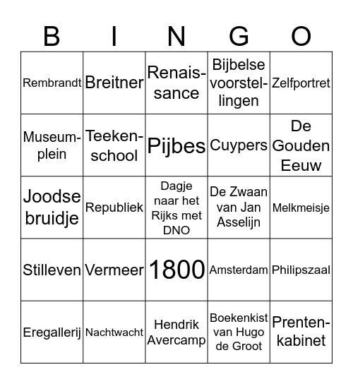 Rijksmuseum DNO Bingo Card