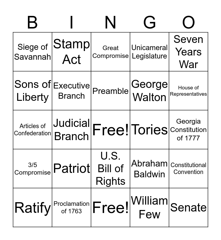 Parts Three and Four Bingo Card