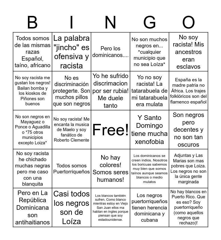 Bingo Blancoide Puertorriqueño Bingo Card