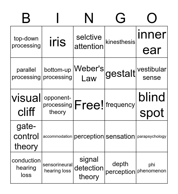 Unit 4: Sensation and Perception Bingo Card