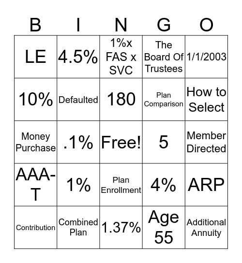 Retirement Plan Bingo Card