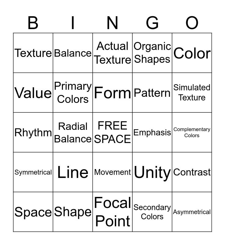Elements and Principles of Art Bingo Card