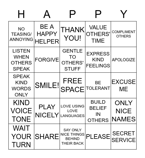 HAPPY HOME BINGO Card