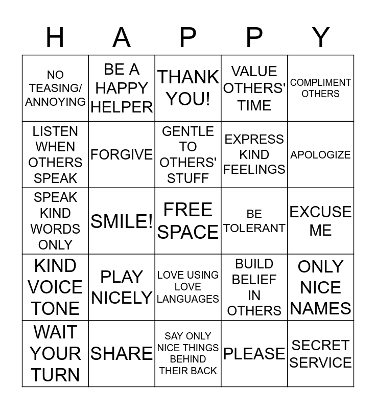 HAPPY HOME BINGO Card