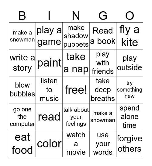 Ways to control your anger Bingo Card