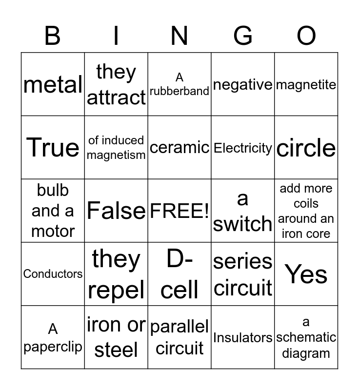 Magnetism and Electricity Bingo Card