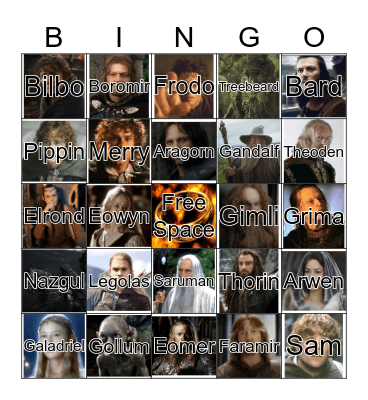 Middle-Earth Bingo Card