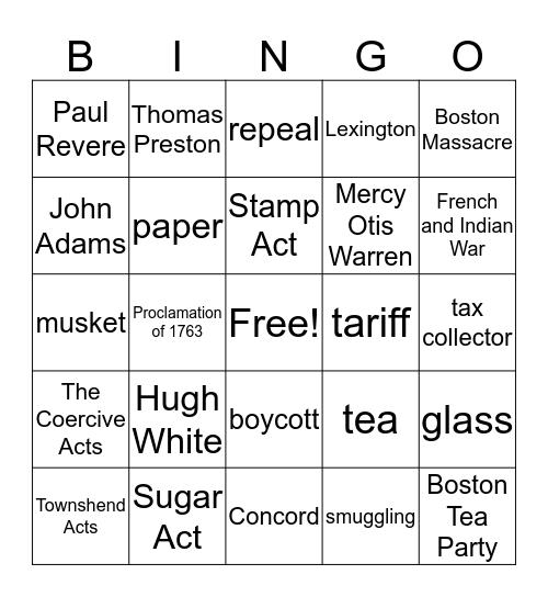 Road to Revolution! Bingo Card