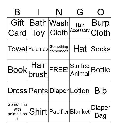 Baby Girl Bingo!  Bingo Card