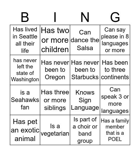 Getting to know POELs! Bingo Card