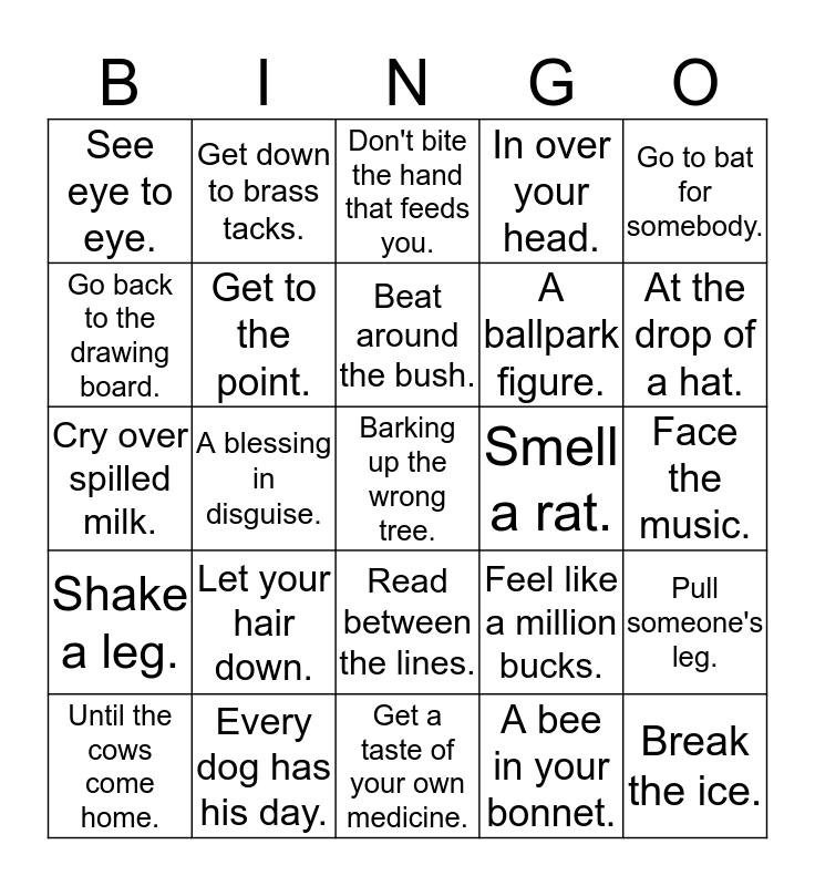 IDIOMS Bingo Card
