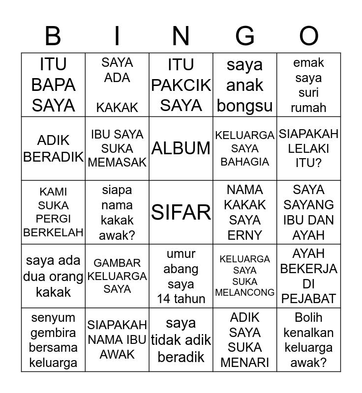 AKTIVITI BAHASA MELAYU Bingo Card