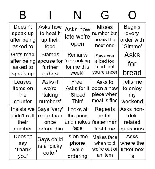 Shitty Deli Customers Bingo Card
