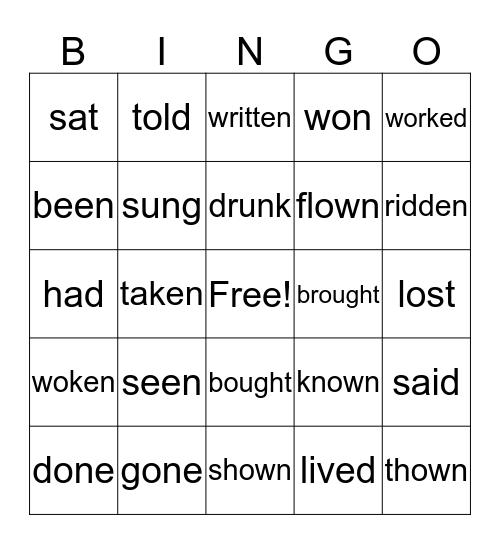 Past Participles Bingo Card