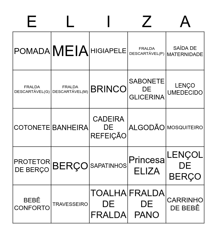 BINGO  Bingo Card