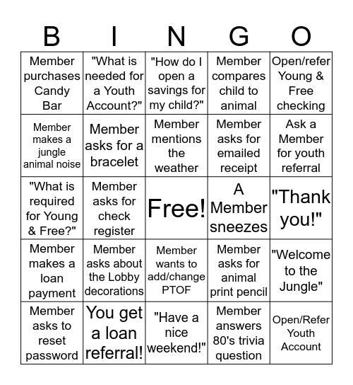 Wild About Savings! Bingo Card