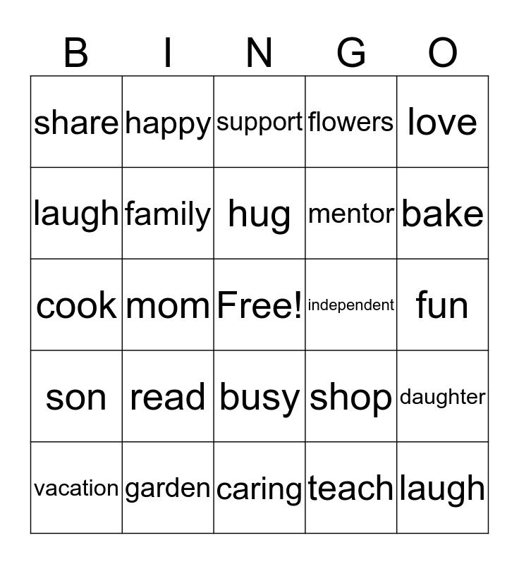 Mothers Day Bingo Card