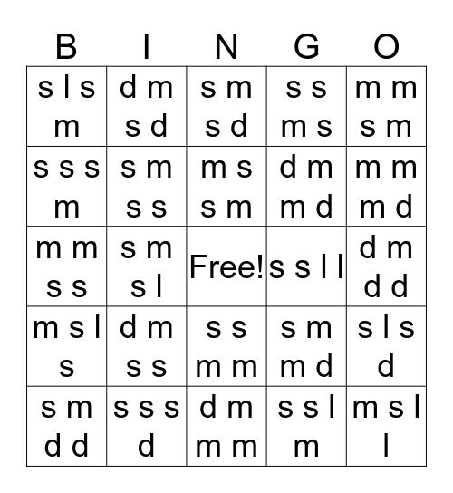So Mi La Bingo Card