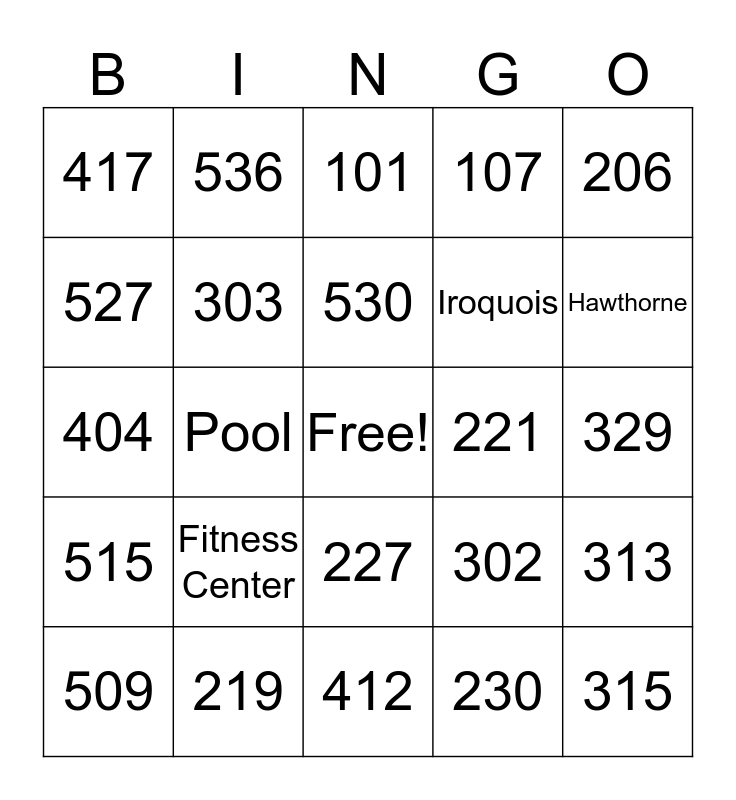 Fairfield Inn and Suites Room Bingo! Bingo Card