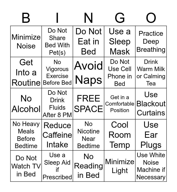 Good Sleep Hygiene Bingo Card