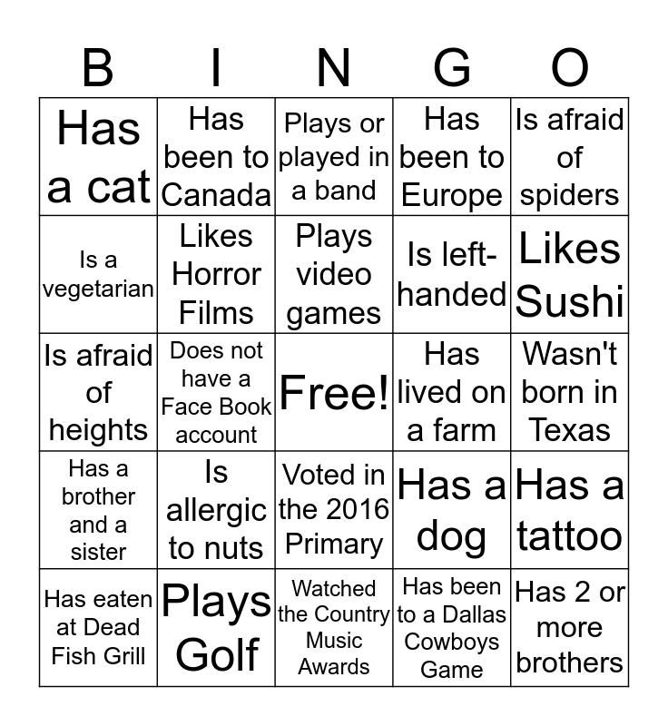Waterford Bingo Card