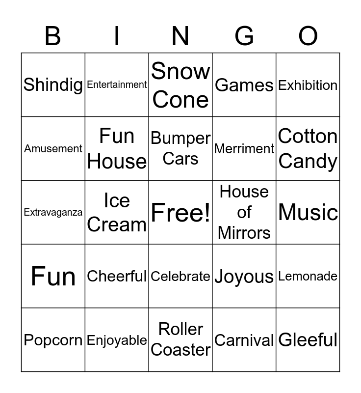 BIG TOP Bingo Card