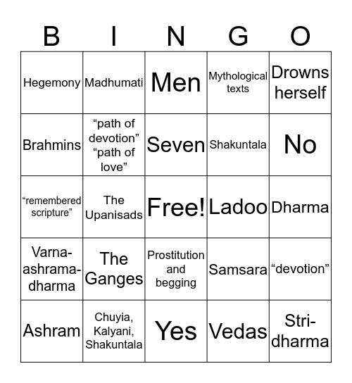 Water Bingo Card