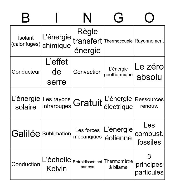 Science 7, Unité 3, Chapitres 1-8 Bingo Card