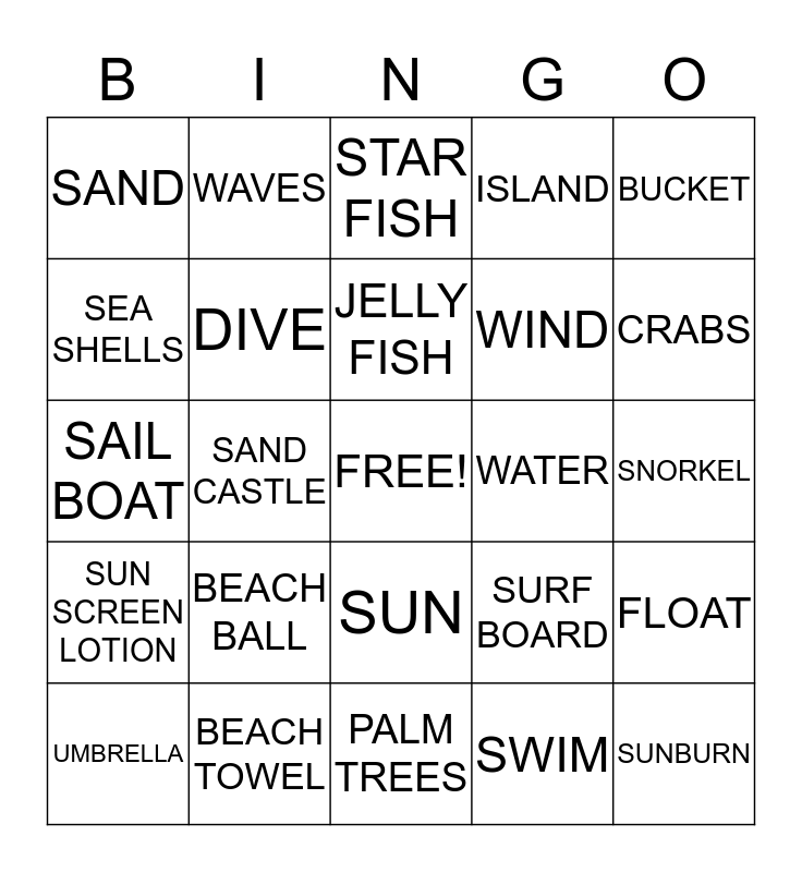 Beach Bingo Card