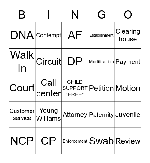 A Day in Child Support Bingo Card