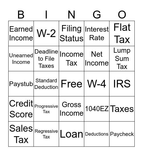 Taxes Bingo Card