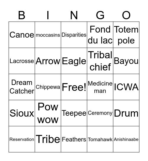 Native American Bingo Card