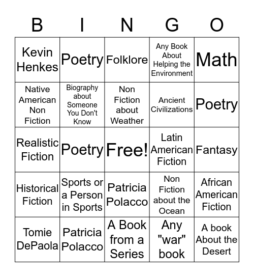 Class Reading Challenge for Quarter 4 Bingo Card