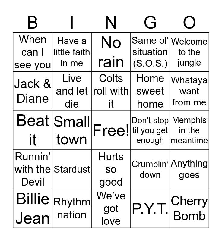 Hoosier Hysteria Bingo Card