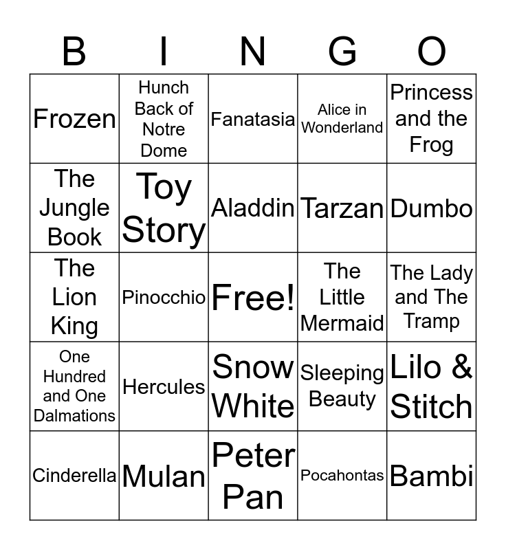 Disney Movies Bingo Card
