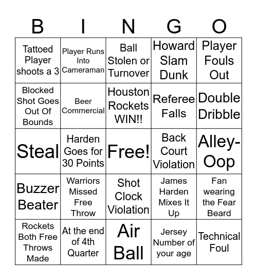 Houston Texans Grille- Rockets vs Warriors Bingo Card