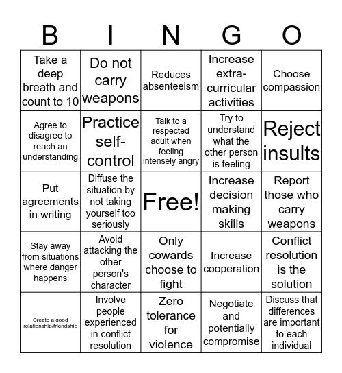 Conflict Management Bingo! Bingo Card