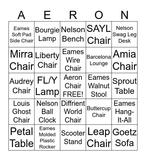 Aeron Chair Bingo Card