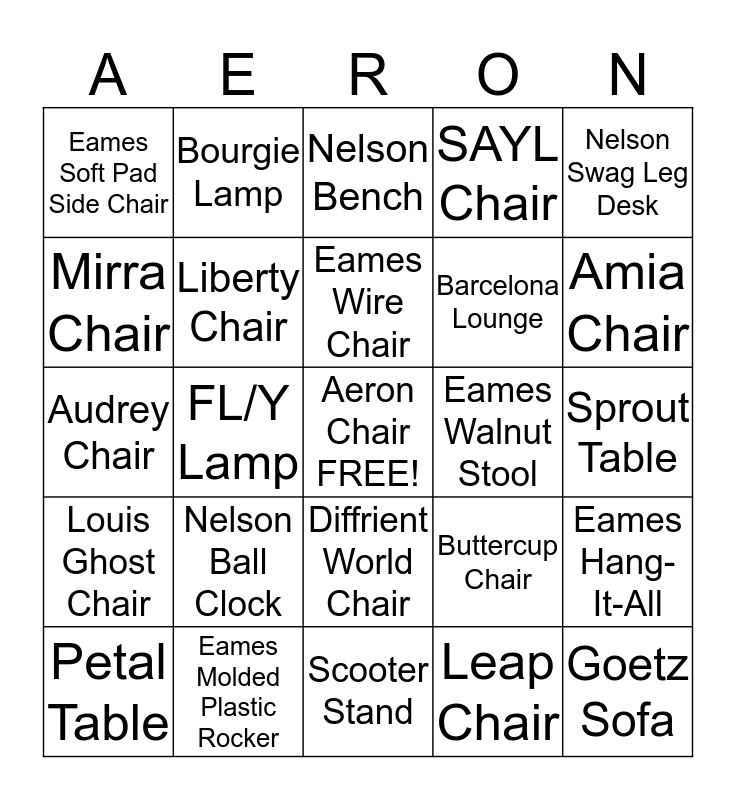 Aeron Chair Bingo Card