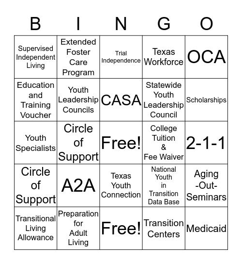PAL Bingo Card