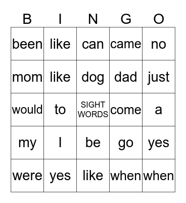SIGHT WORD BINGO Card
