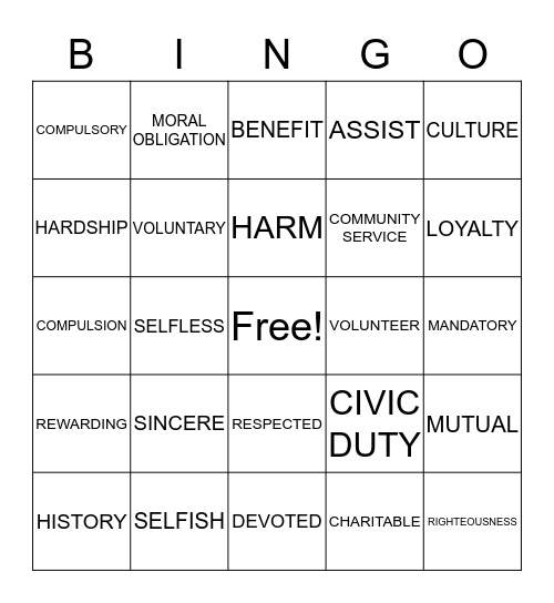 VOLUNTEERING Bingo Card