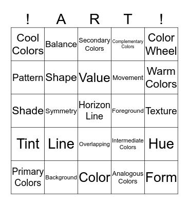 Amazing Art Bingo Card