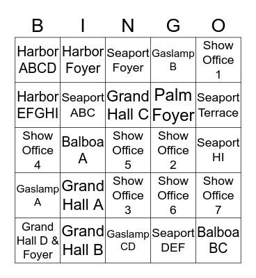Adopt a Meeting Room Bingo Card