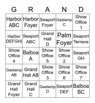 Adopt a Meeting Room Grand Bingo Card