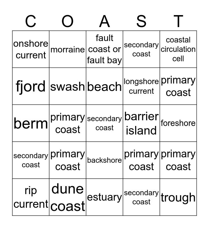 C O A S T Bingo Card