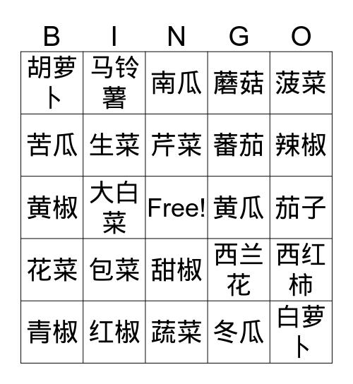 蔬菜bingo Card