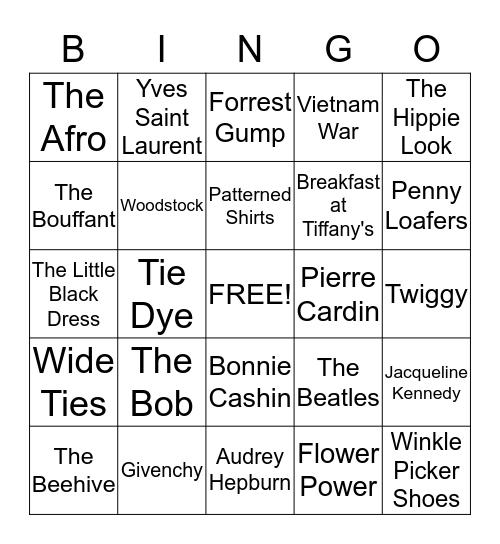 1960's Bingo Card